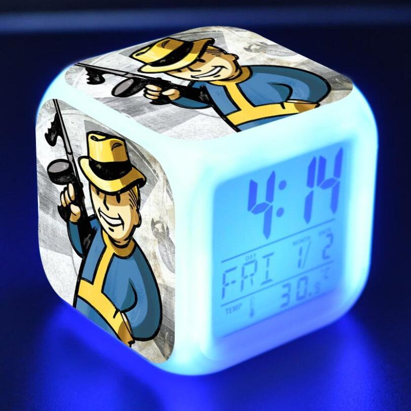 Fallout 4 Action Figures LED 7 Colors Change Touch Light Alarm Desk Watch Boys Girls Toys #3799