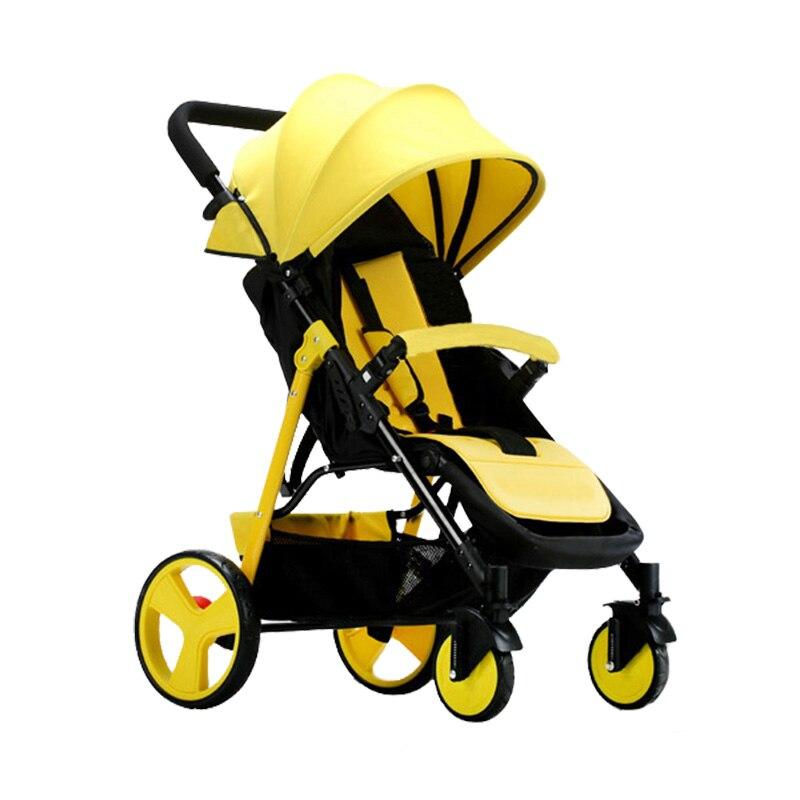 2018 nouveau bébé poussette pliable et léger, un-bouton pliage pratique quatre roues panier