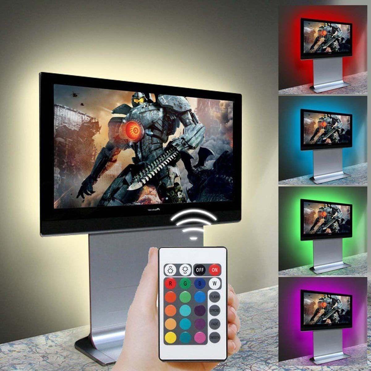 5V 5050 RGB 60SMD//M LED Strip Lights Bar TV Back Lighting Kit+USB 24 Key Remote