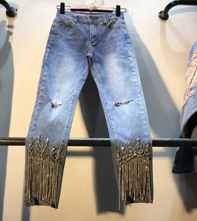 Holes Denim Pants Lady 2019 Spring Summer Clothing New Heavy Studded Bead-fringed Drilled High-waist Slim Nine-cent Jeans Girls