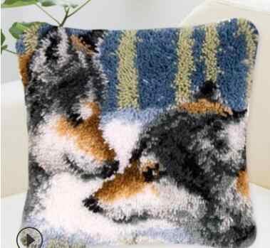 Наволочка с животными защелка крюк ковер комплекты для рукоделия вышивки Подушка волк Гобелен Холст Подушка Комплект