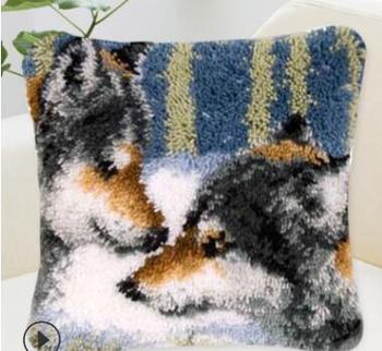 Animals Pillowcase Latch Hook Rug Kits Needlework Embroidery Pillow Wolf Tapestry Canvas Cushion Kit