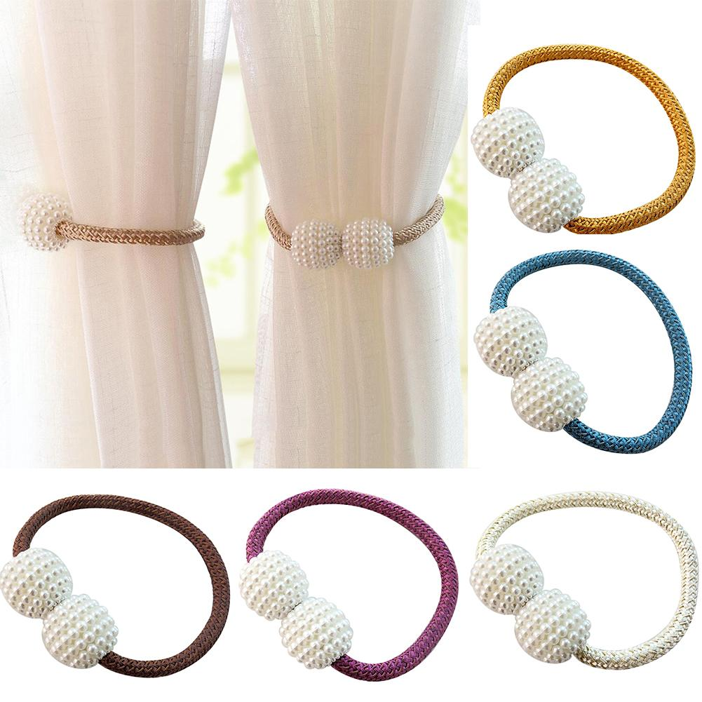 Faux Pearl Beads Weaving Rope Magnetic Curtain Tieback