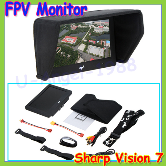Wholesale 1pcs 100% Brand New Trade Edition Sharp Vision 7 inch 800*480 LCD FPV Monitor with Sunshade for RC Quadcopter 2015 100% brand new trade edition sharp vision 7 inch 800 480 lcd fpv monitor with sunshade for rc quadcopter