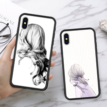 купить Fashion Contrast Character Pattern Phone Case For iPhone X XS MAX XR Black-backed Goddess Protects Cases Back Cover For iPhone 6 по цене 164.13 рублей
