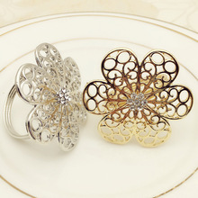 10PCS hotel supplies sun flower napkin ring diamond buckle paper towel cloth gold / silver