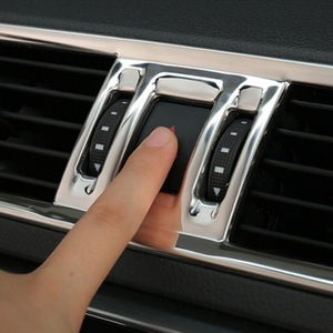 Image 3 - Tonlinker Cover Case Stickers For SKODA SUPERB 2016 17 Car Styling 3 Pcs stainless steel Dashboard air outlet cover stickers