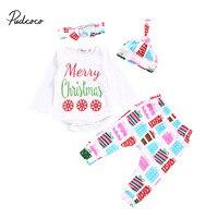 Cute 4Pcs Newborn Baby Boy Girl Clothes Long Sleeve Romper Pants Legging Hat Headwear Outfits Casual