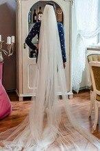 Velo de novia de 3 capas con cola larga y peine de metal, velo de boda blanco de 3 m, accesorios de boda para mujer WAS10012