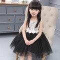 Meninas Novos de Verão para Crianças Rendas Princesa Flores Impressão Vestidos de Flores Crianças Malha Roupas Black White