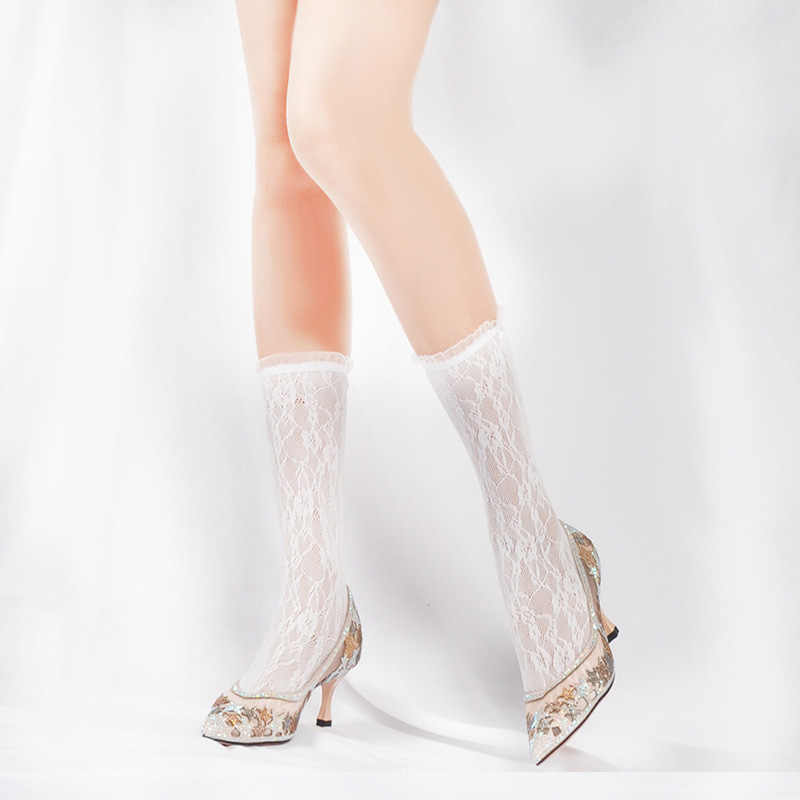 Ngọt Ngào Lưới Tất Nữ Bông Tai Kẹp Đầu Gối Gợi Cảm Fishnet Cao Tất Nữ Lolita Áo Đàn Hồi Thông Minh Tất