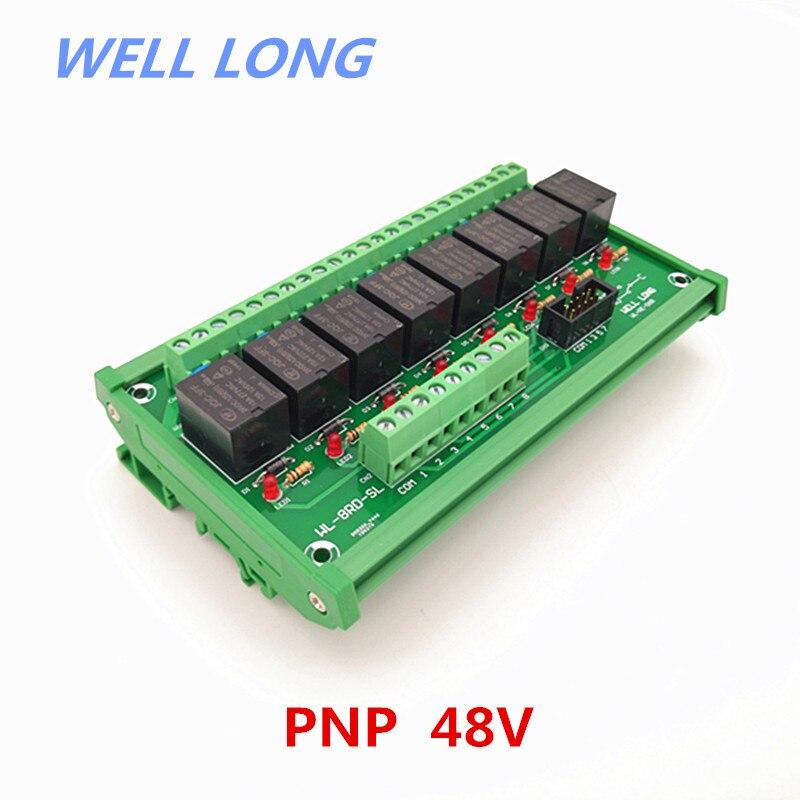 Module d'interface de relais de puissance de Type PNP 48 V 15A à 8 canaux, relais HF JQC-3FF-48V-1ZS.