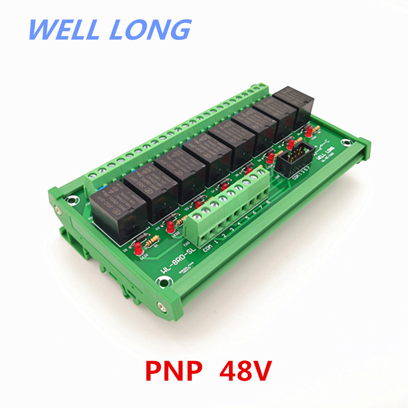 DIN Rail Mount 8 Channel PNP Type 48V 15A Power Relay Interface Module,HF JQC-3FF-48V-1ZS Relay.DIN Rail Mount 8 Channel PNP Type 48V 15A Power Relay Interface Module,HF JQC-3FF-48V-1ZS Relay.