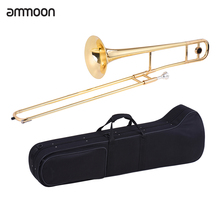ammoon Tenor Trombone Brass Gold Lacquer Bb Tone B flat Wind Instrument with Cupronickel Mouthpiece Cleaning Stick Case