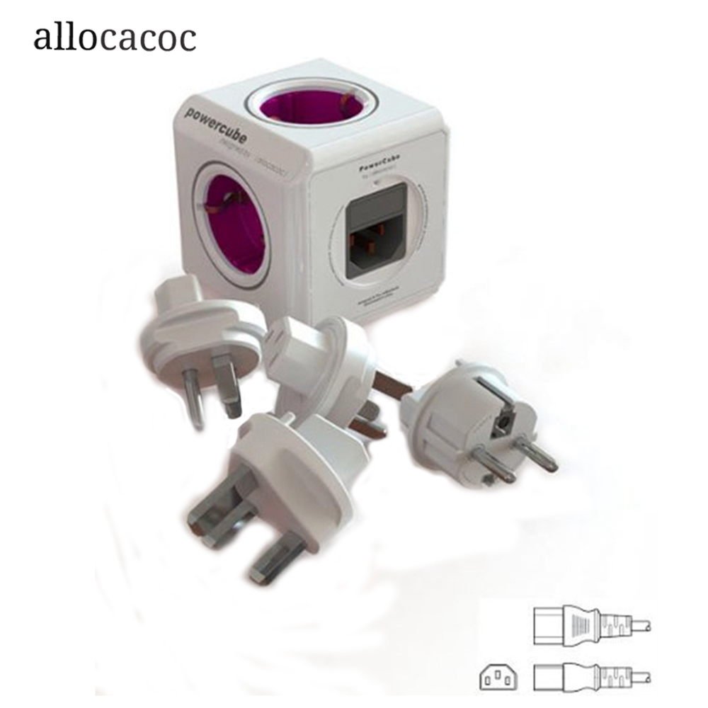 Allocacoc Original Power Cube Extended DE Socket Plug 5 outlet 4 Conversion Plugs EU PowerCube Prolonged Electrical Adapter