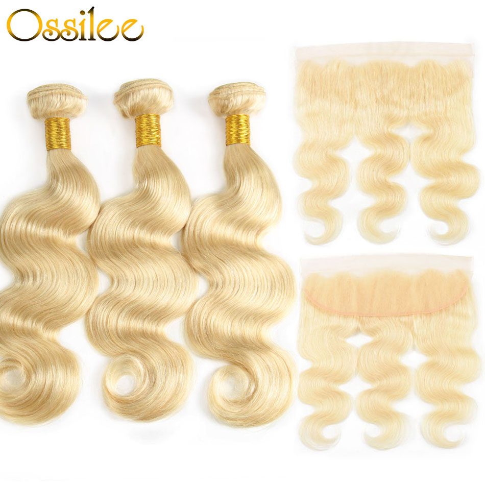 Ossilee 613 Bundles With Frontal Blonde Bundles with Frontal Closure Brazilian Body Wave 3 Bundles with Closure NonRemy Hair