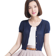 Summer Fashion Women Short Sleeve Hollow Out Thin Type Casual Female Small Coats Jackets