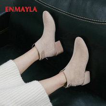 EMMAYLA Ankle Boots for Women Square Heel Kid Suede Women Shoes Basic Round ToeWinter Short Plush Winter Boots Women Size 34-39 стоимость