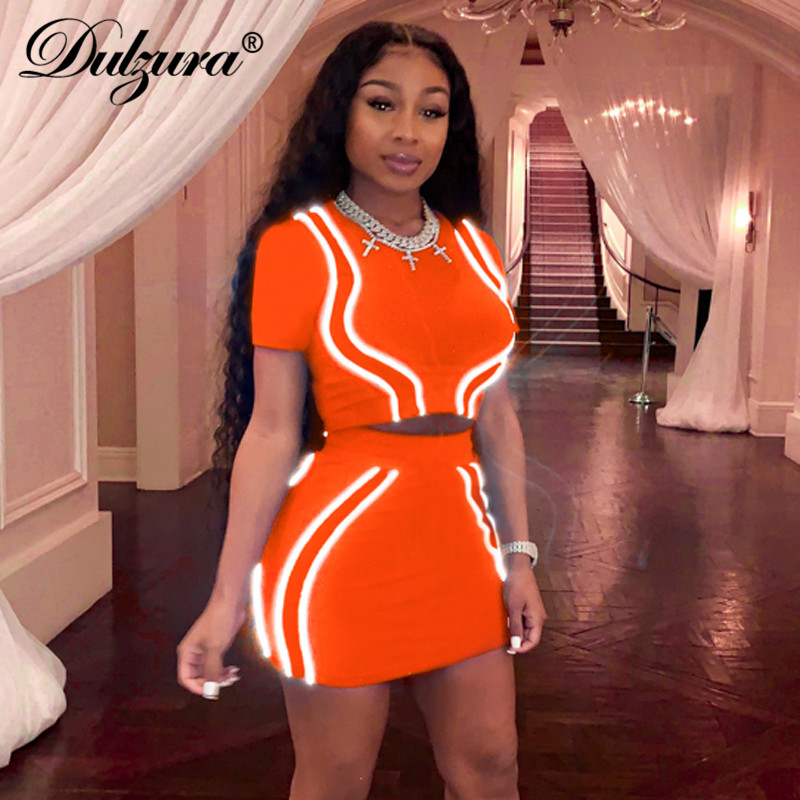 Dulzura 2019 Summer Women Two Piece Set Skirt Set Streetwear Party Reflective Sexy Crop Top Outfits Matching Sets Tracksuit
