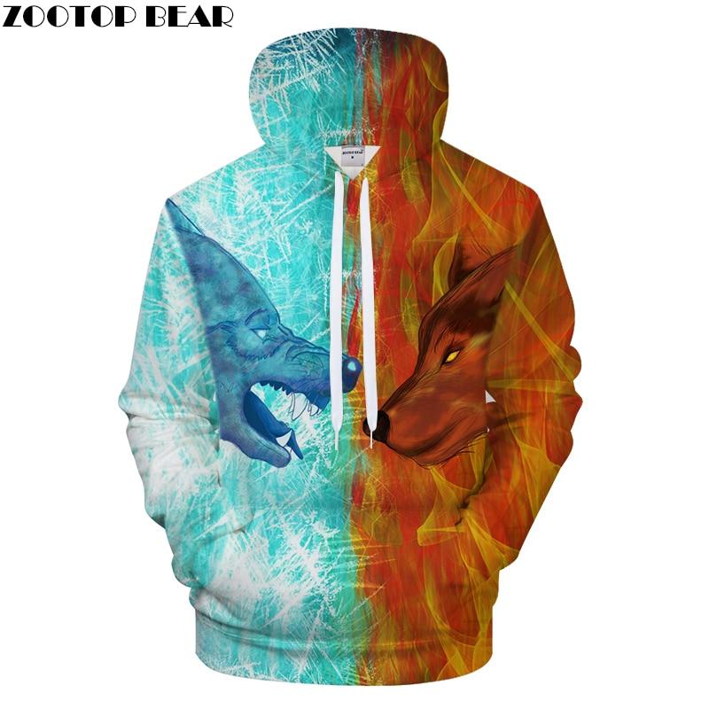 Men Hoodies 3D Wolf Hoody Print Sweatshirt Streatwear Tracksuit Casual Coat Pullover Hoodie Unisex Hit Color Dropship ZOOTOPBEAR