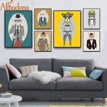 ALMUDENA Animal Dog Rabbit Fox Poster Minimalist Art Canvas Painting Vintage Nursery Picture Modern Children Room Decoration