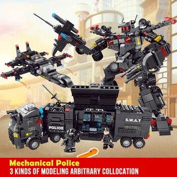 DIY creativo montaje bloques educativos juegos de figuras de acción transformación número Robot deformación Robot juguete para niños Legoing