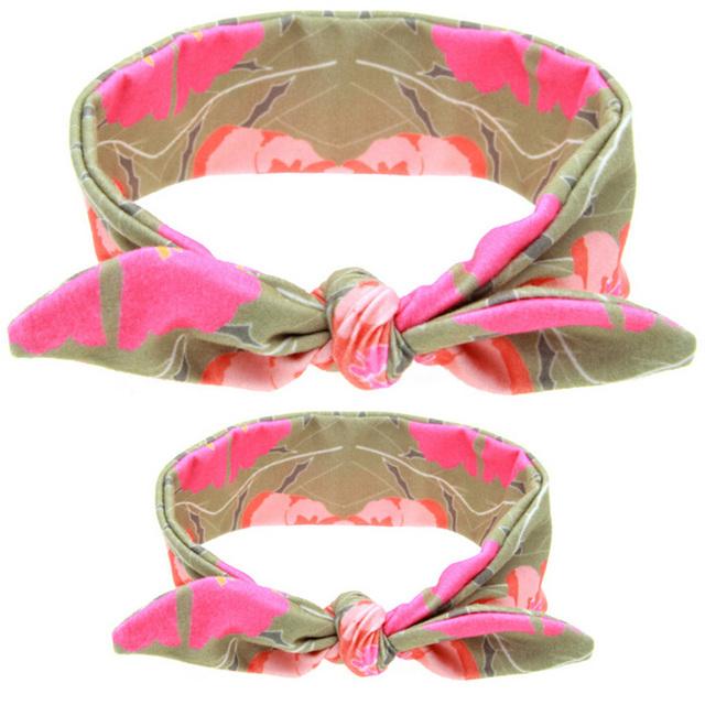 2 Pcs / Set Rabbit Ears Elastic Fabric Bowknot Headband Accessories