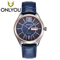 ONLYOU Brand Men Women Dress Quartz Watch Couples Calendar Table Clock Real Leather Fashion Casual Wristwatches Hot Sale Gift