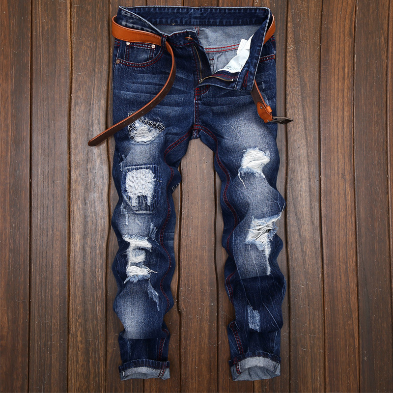 England Style Solid New 2017 For Spring Autumn Ripped Biker Holes Elastic Denim Rock Punk Mens Skinny   Jeans