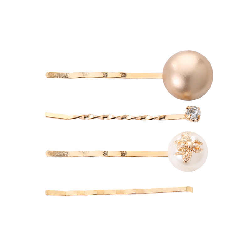 4pcs/set Women Girls Metal Pearl Marble Hair Clip Combination Barrette Pearls Hairpin Hair Styling Accessories DROP shipping