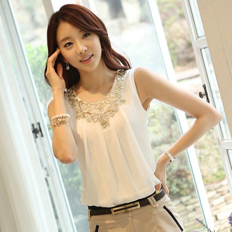 New Spring Summer Fashion Women Shirt Sleeveless Blouse Casual Chiffon Shirts Lace Blouses Tops Blusa Femininas