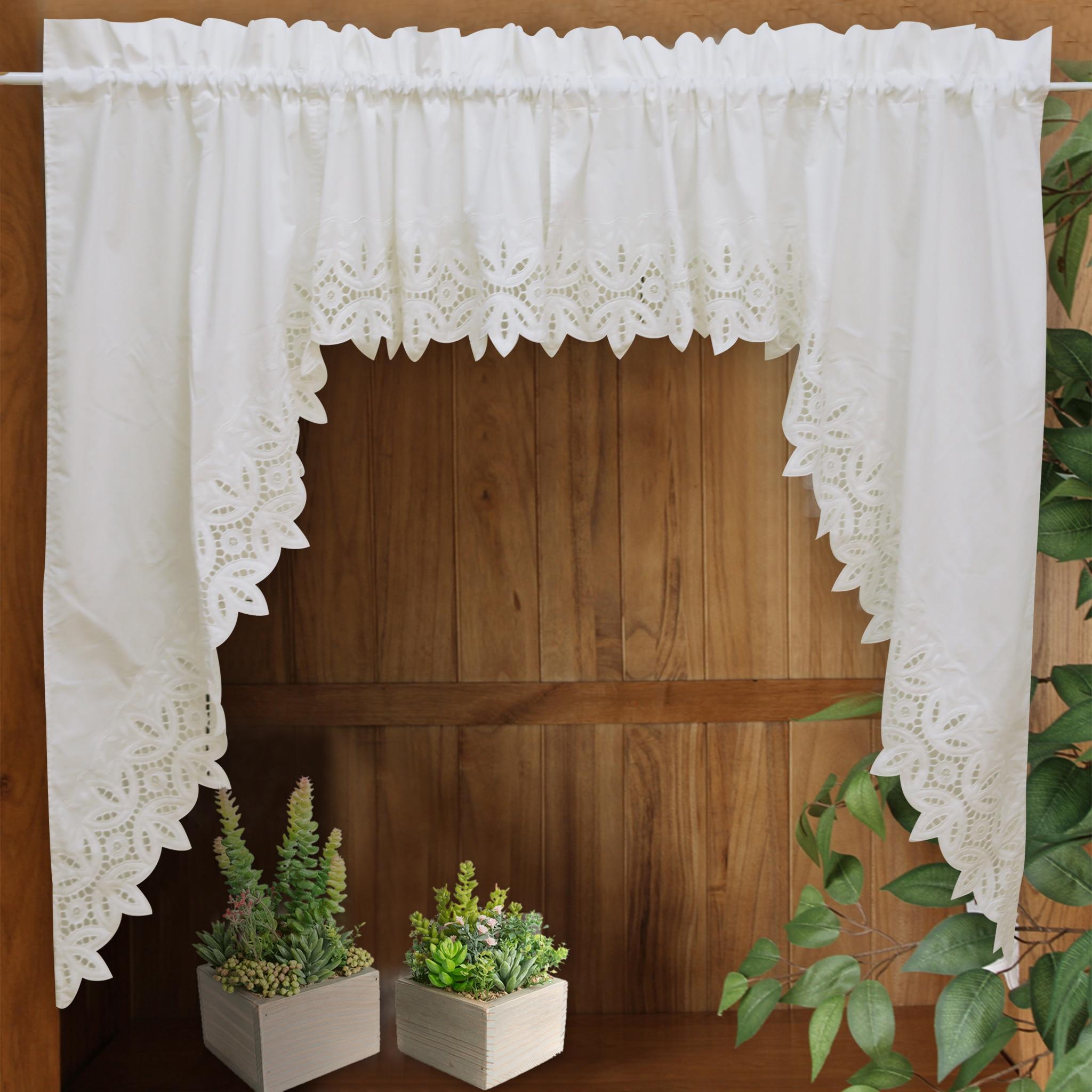 Römischen Vorhang Crochet Gestickte Weiße Blumen Retro Big Hem ...