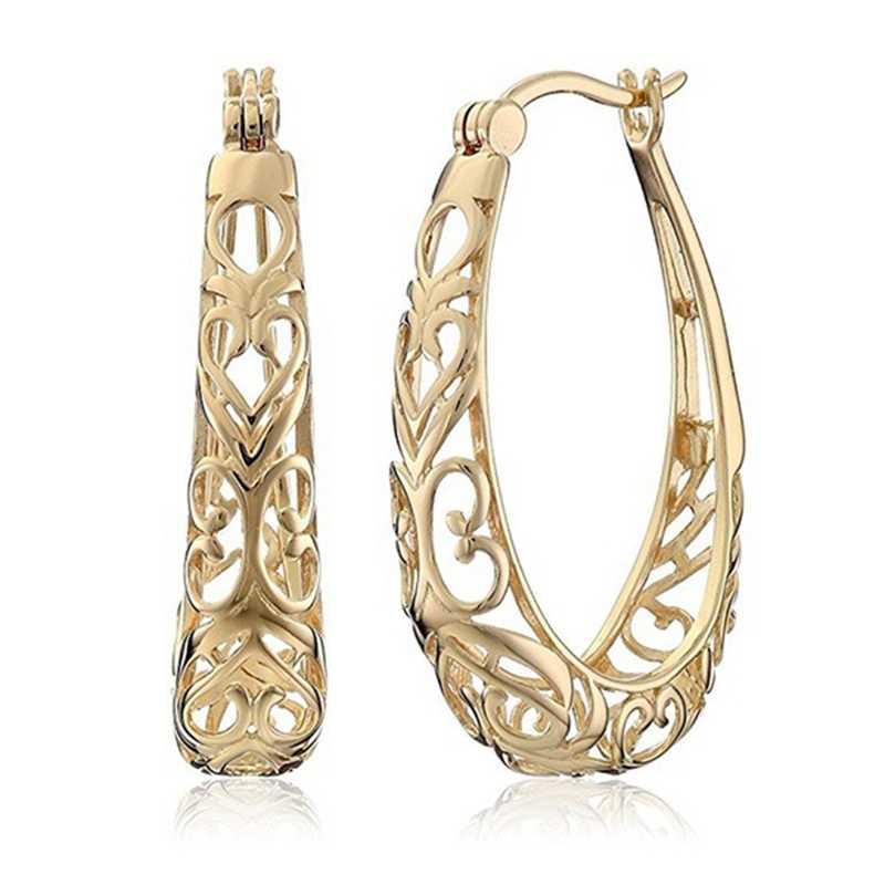Nieuwkomers Unieke Prachtige Gesneden Holle 585 Rose Gold Dangle Grote Oorbellen Vrouwen Bruiloft Fijne Trendy Sieraden