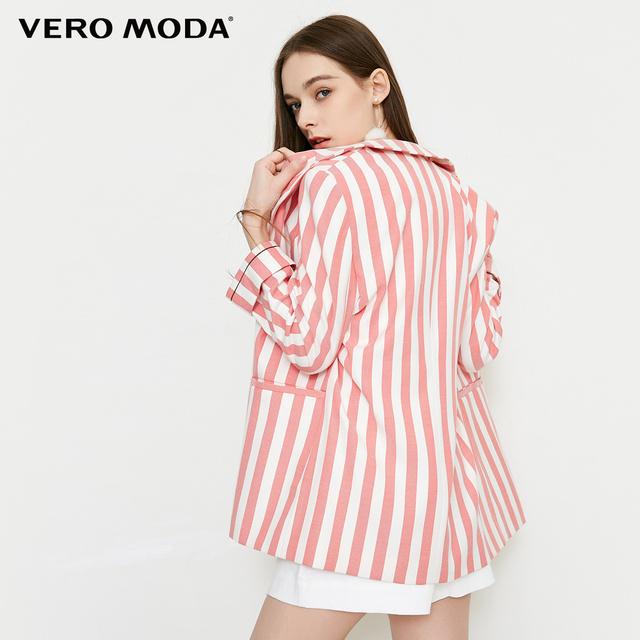 Vero Moda new striped pattern cropped sleeve casual blazer|318208525