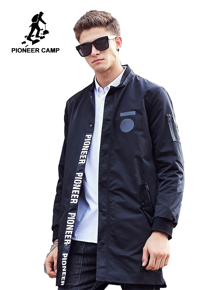 Pioneer Camp 2018 Új stílus hosszú Trench Coat Férfi márka ruházat divat Hosszú dzsekik Kabátok márka-ruházati férfi kabát 611311