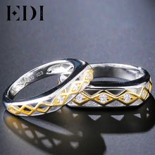 EDI Classic Natural Diamond Lovers' Engagement Ring 14k 585 Two-tone Gold Wedding Bands Fine Jewelry