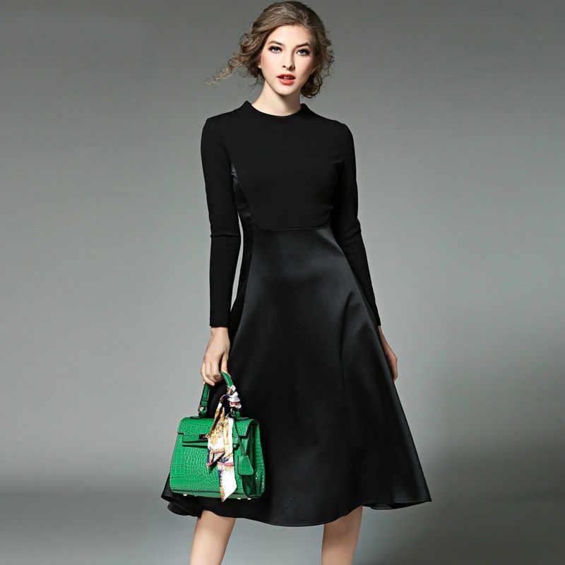5c0e649a30c Женская одежда с длинным рукавом черное осенне-зимнее платье женская одежда 2017  vestidos mujer OL