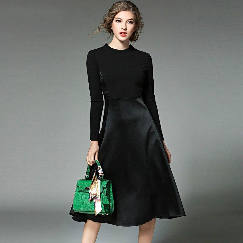 Abbigliamento Maglia A Manica Lunga Nero autunno Inverno Vestito Vetement Femme 2017 Vestidos Mujer OL Abito Camicia Lunga