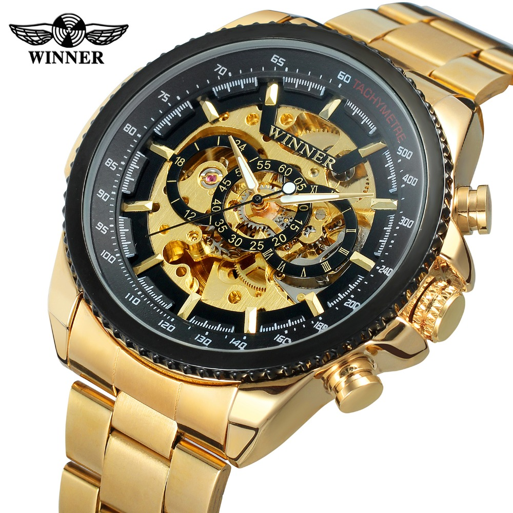 Men Wrist Watch Skeleton Mechanical Mens Saat T-winner Automatic Gold Watch Stainless Steel Business Luminous Hands Male Watches brand new business watch men hollow engraving black gold case stainless steel watches skeleton mechanical automatic wristwatches
