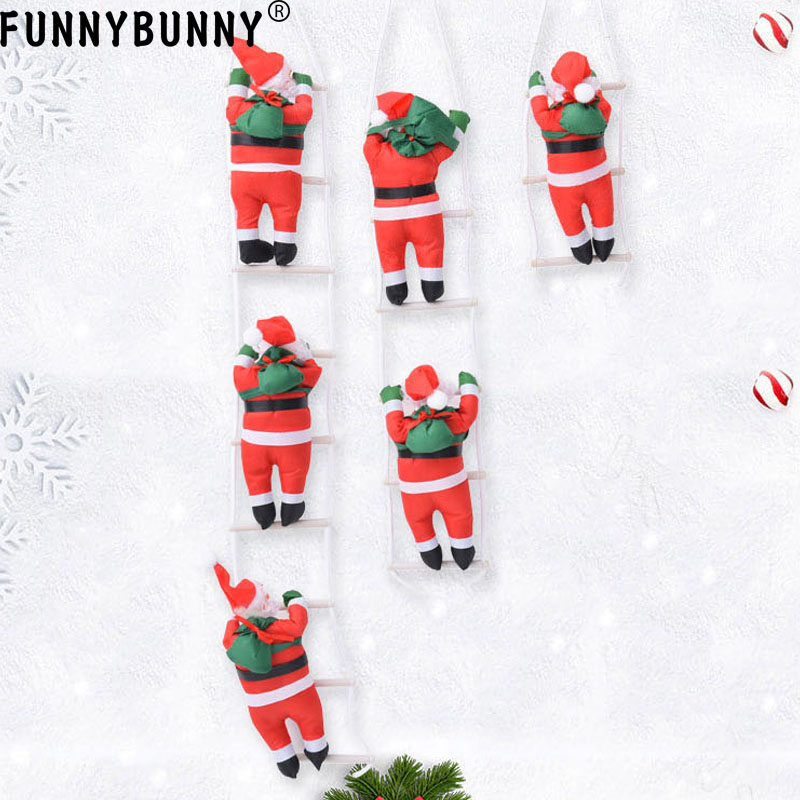 big sale 602d6 acbe5 US $4.57 34% OFF FUNNYBUNNY Santa Claus Climbing on Rope Ladder for  Christmas Tree Indoor Hanging Christmas Xmas Party Home Door Wall  Decoration-in ...