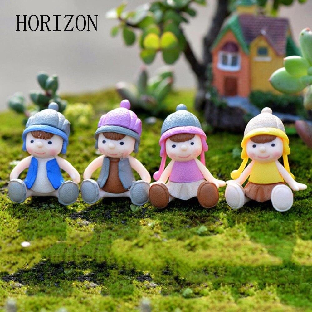 Miniature ornaments - 4pcs Little Boy Girl Doll Resin Crafts Ornament Miniature Figurine Plant Pot Fairy Garden Decor Home Decoration Model Figurine