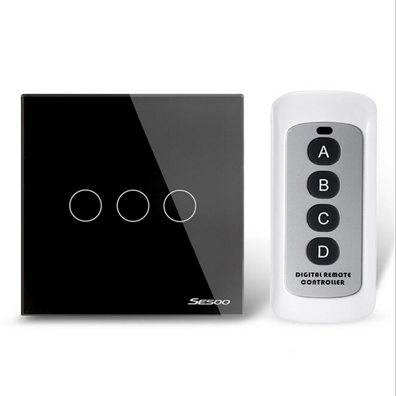 EU/UK Standard Remote Control Switch 3Gang 1Way Wireless Remote Control Wall Touch Switch Black Crystal Glass Switch Panel smart home eu touch switch wireless remote control wall touch switch 3 gang 1 way white crystal glass panel waterproof power