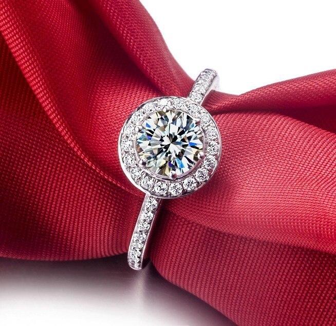 THREEMAN 1CT Белое золото предложить круглые ювелирные изделия Halo вокруг крепления 1CT взаимодействие синтетических алмазов кольцо для женщин белое золото