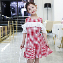 HSSCZL 2019 brand fashion girls dress summer Korean version big children's plaid children loose kids baby party princess clothes
