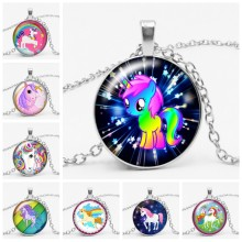 3 Color 25mm Fashion Handmade Time Glass Gem Pendant Necklace Fairy Unicorn Gift Convex Magic High Quality Necklace Jewelry(China)
