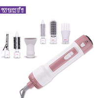 6 in 1 Hair Curler Brush Automatic Rotating Ionic Hair Brush Dryer Hair Curling Straightening Comb Set Iron EU Plug white