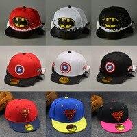High Quality Children Cartoon Captain Superman Snapback Hat Baseball Cap Kids Batman Hip Hop Peaked Cap