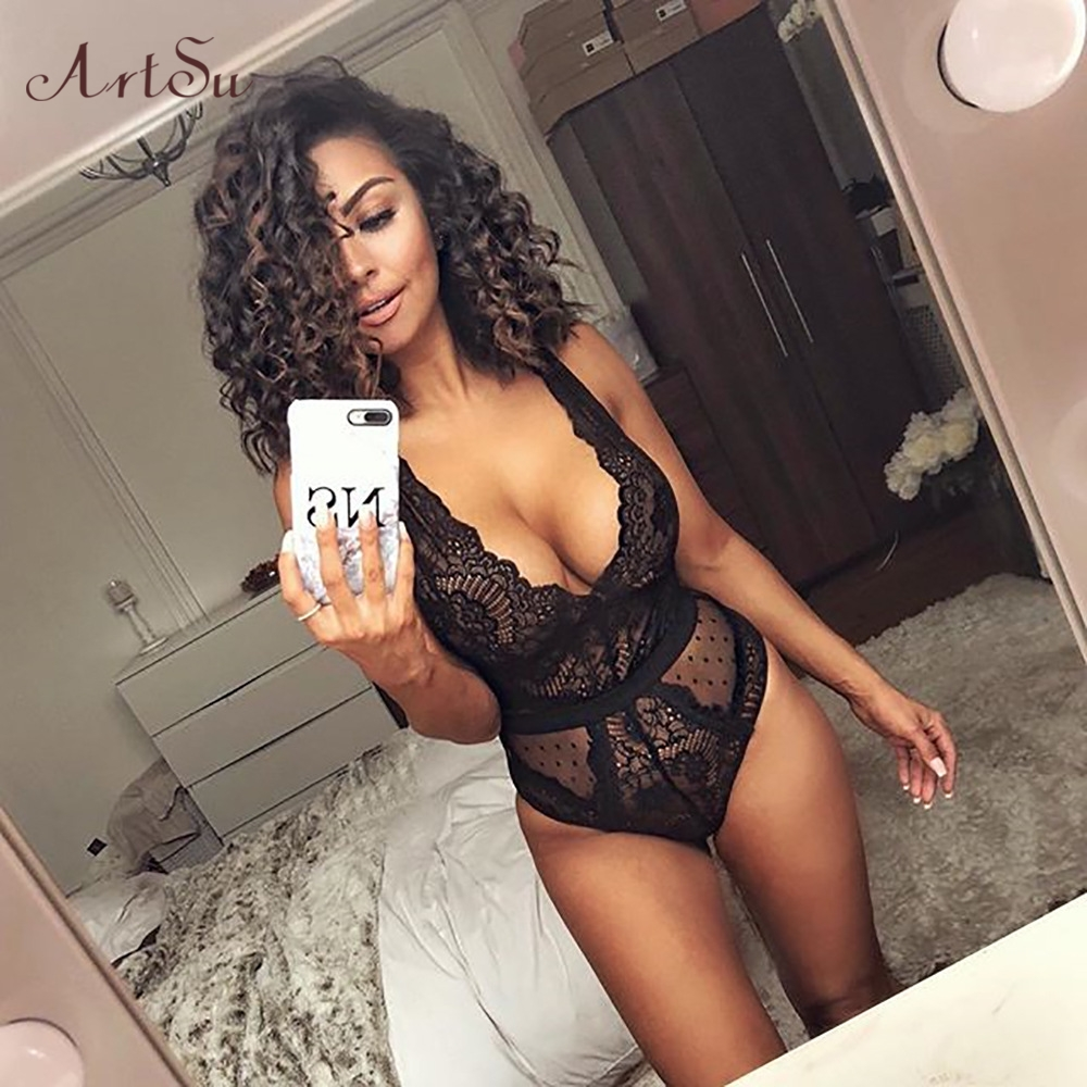 ArtSu Vintage Deep V Neck Lace Mesh Bodysuits Women 2019 New Lace Patchwork Bodysuits Sleeveles Bralette Jumpsuit  ASJU60190