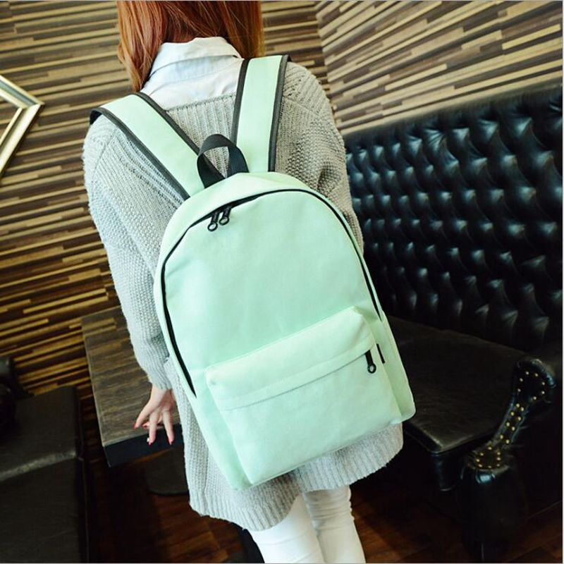 Simple Korean style pure candy color canvas women backpack college student school book bag leisure backpack pretty style pure color canvas women backpack college student school book bag leisure backpack travel bag