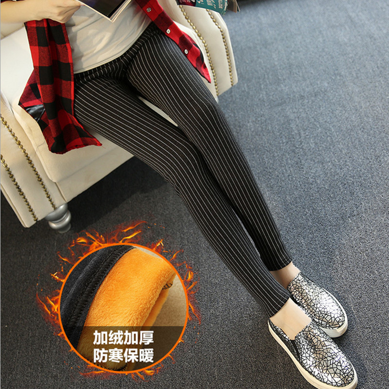 2018 High-quality Autumn / winter brand women with velvet warm stripe elastic thin slim  leggings pencil pants female